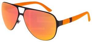 Gucci GUCCI GG2252 Aviator Sport Metal Rubber Orange Mirrored Sunglass 2252