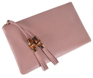 Gucci Bamboo Designer Leather pink Clutch