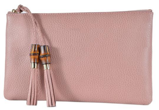 Gucci Bamboo Designer Leather pink Clutch Image 2