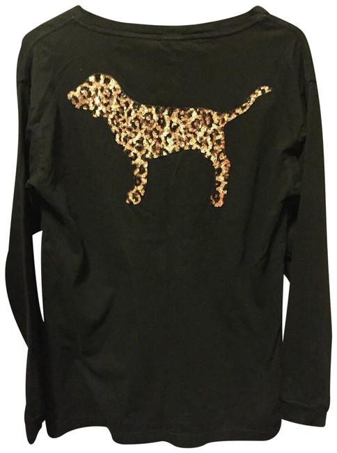 Preload https://img-static.tradesy.com/item/25515159/pink-vs-black-leopard-bling-tee-shirt-size-4-s-0-1-650-650.jpg