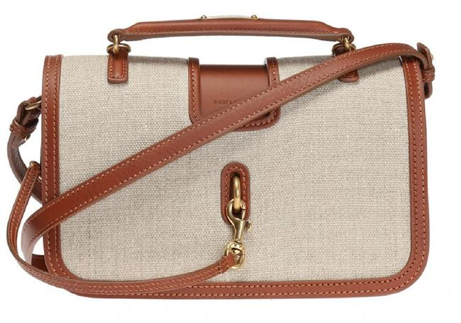 Item - Charlotte Ysl Bo Lino Legend Beige Linen 449463 Brown Leather Cross Body Bag