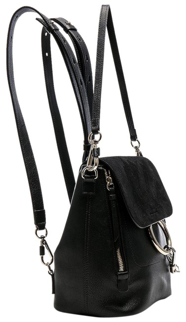 Item - Faye Small Suede Black Leather Backpack