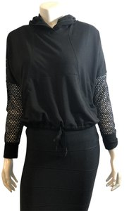 SoulCycle SOULCYCLE 10519 BLACK PULL OVER MESH SLEEVE HOODIE SZ XS/S
