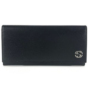 Gucci GUCCI Continental Shangai Black Leather Flap Wallet with Interlocking