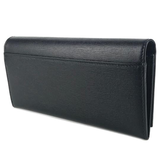 Gucci GUCCI Continental Shangai Black Leather Flap Wallet with Interlocking Image 4