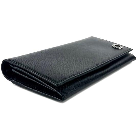 Gucci GUCCI Continental Shangai Black Leather Flap Wallet with Interlocking Image 6
