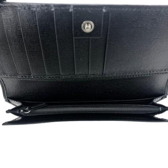 Gucci GUCCI Continental Shangai Black Leather Flap Wallet with Interlocking Image 8