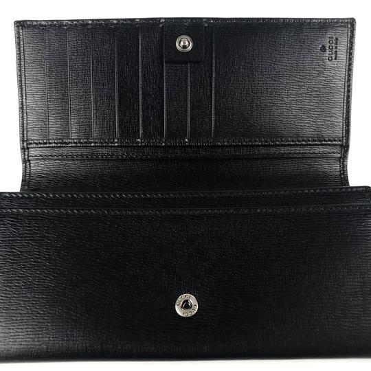 Gucci GUCCI Continental Shangai Black Leather Flap Wallet with Interlocking Image 9