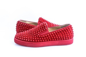 Christian Louboutin Red Roller-boat Spikes Flat Suede Shoes