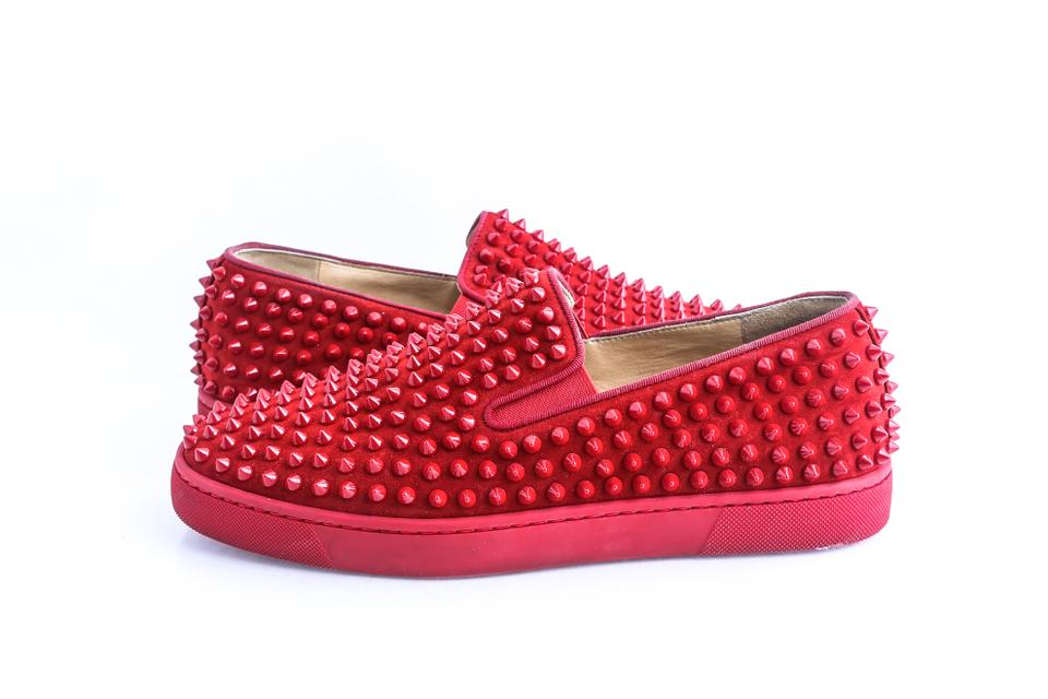 45a297ddae3 Christian Louboutin Red Roller-boat Spikes Flat Suede Shoes 30% off retail