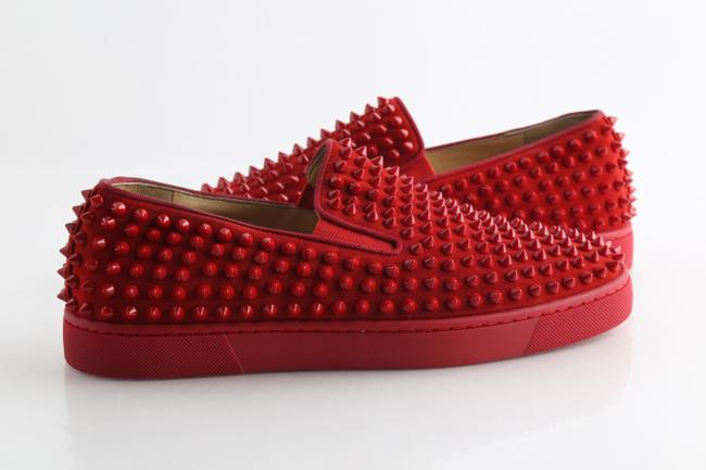 Item - Red Roller-boat Spikes Flat Suede Shoes
