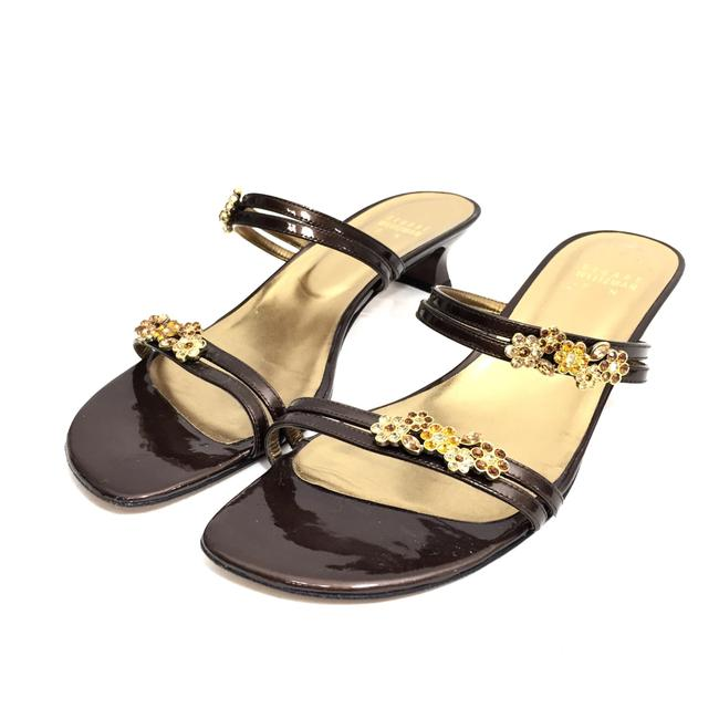 Item - Brown W Patent Leather W/ Rhinestone Flowers Sandals Size US 9 Narrow (Aa, N)
