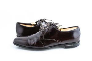 Prada Brown Calf Leather Oxford Lace-up Shoes
