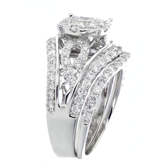 Midwest Jewellery 14K White Gold Engagement Ring and Band Set Round Solitaire Center Image 1