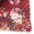 Gucci NEW GUCCI 406227 Blooms Wool Cashmere Stole Scarf, Red Image 3