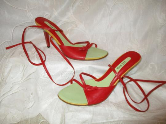Via Vita Color-blocking Leather Ankle Tie 0eam003 red multi Sandals Image 2