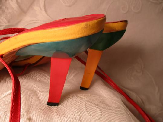 Via Vita Color-blocking Leather Ankle Tie 0eam003 red multi Sandals Image 7