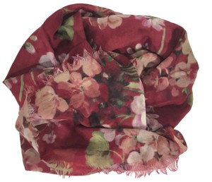 Gucci NEW GUCCI 406227 Blooms Wool Cashmere Stole Scarf, Red