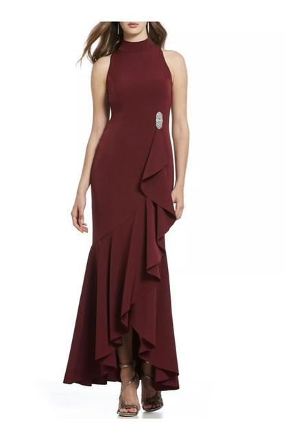 Preload https://img-static.tradesy.com/item/25515556/vince-camuto-burgundy-mock-neck-embellished-ruffle-hem-gown-long-formal-dress-size-12-l-0-1-650-650.jpg