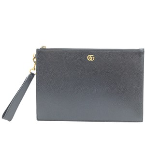 Gucci Marmont Leather Clutch Wristlet in Black
