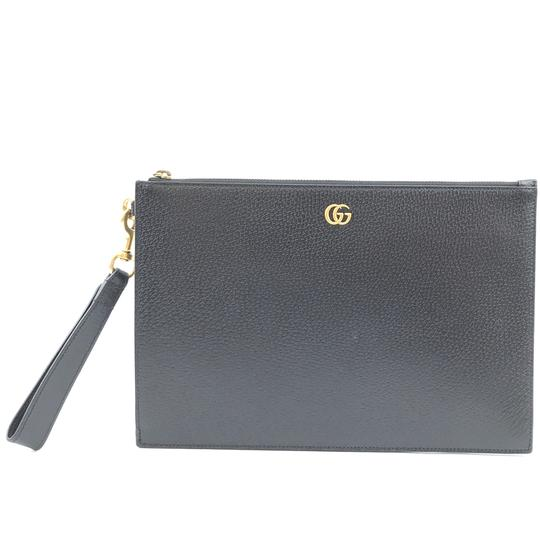 Preload https://img-static.tradesy.com/item/25515561/gucci-marmont-clutch-30369-rare-gg-logo-gold-hardware-black-leather-wristlet-0-1-540-540.jpg