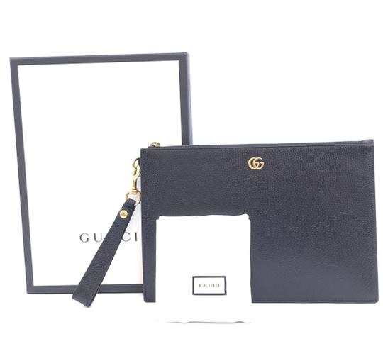 Gucci Marmont Leather Clutch Wristlet in Black Image 1