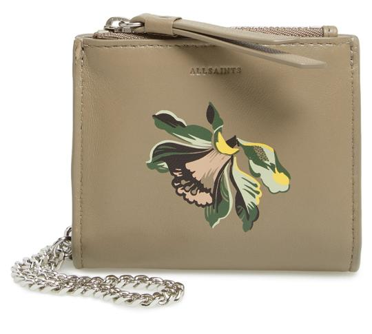 Preload https://img-static.tradesy.com/item/25515588/allsaints-taupe-grey-flora-leather-bifold-wristslet-on-chain-wallet-0-1-540-540.jpg
