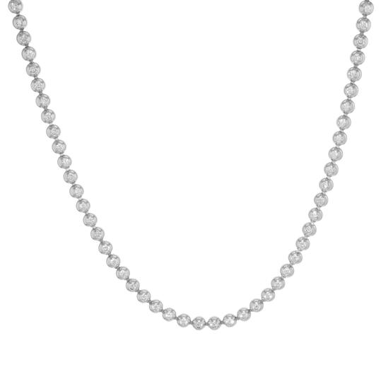 Cartier Diamond Tennis Ladies Necklace Bead Bezels Style 4.26Cttw Image 0