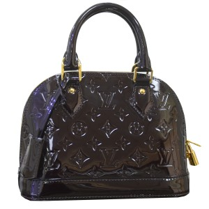 Louis Vuitton Alma Bb Vernis Amarante Satchel in Red