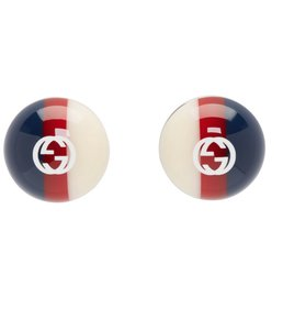 866618036545a3 Gucci Gucci web studs Silver-tone and enamel earrings