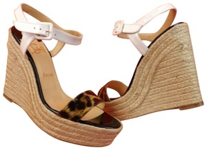 Christian Louboutin Animal Print Platform Patent White Black Brown Wedges