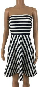 The Limited Strapless Striped Side Zip Dress