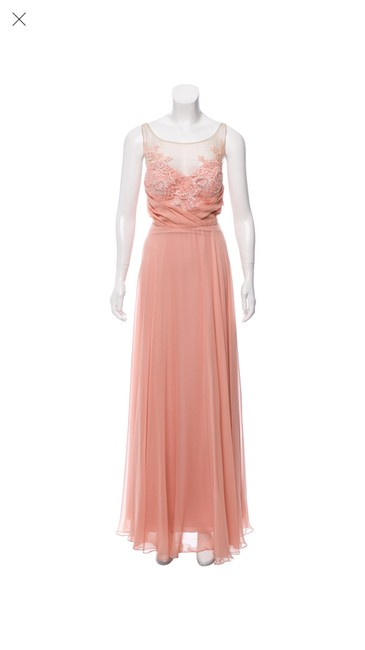 Item - Pink/Coral Silk Evening Gown Feminine Bridesmaid/Mob Dress Size 10 (M)
