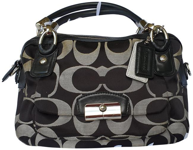 Item - Kristin Double Black/Grey Fabric with Leather Satchel