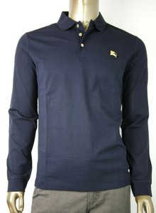 Burberry Navy L Cotton Long Sleeve Polo with Gold Horse Charm 4059323 Shirt