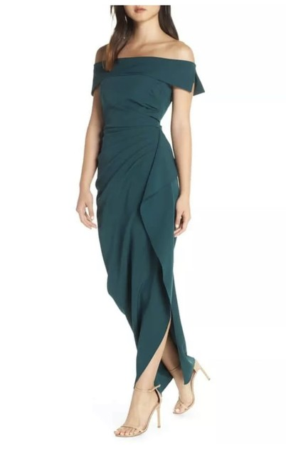 Vince Camuto Hunter Green Off The Shoulder Crepe Gown Long