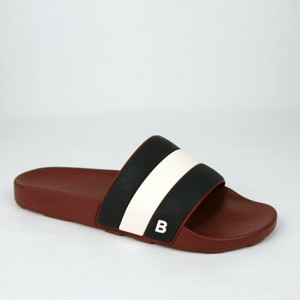 Bally Dark Red Black Men's Rubber Slippers with Logo 9d Sleter-07 Shoes