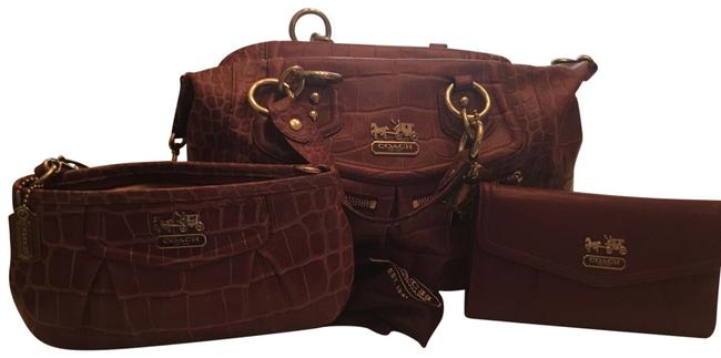 Item - Satchel with Billfold and Makeup Case Purple Leather Tote