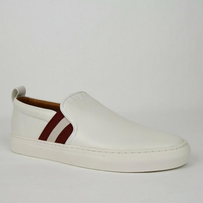 Item - White W Nappa Lamb Leather Slip On W/Red Beige Web 13d Herald-67 Shoes
