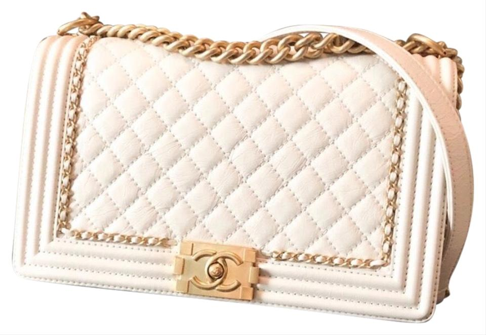 Chanel Boy Limited Edition Medium Gold Chain Accent Distressed Cream Off White Leather Shoulder Bag