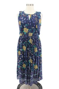 Blue Maxi Dress by Old Navy Floral Pleated Summer Maxi