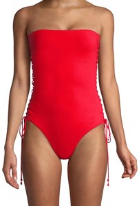 ZIMMERMANN ZIMMERMANN Castile Bandeau 4327WCAS Lace Up One Piece Swimsuit Red 2