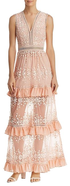 Item - Blush Womens Embroidered Flounce Party Maxi Long Night Out Dress Size 10 (M)