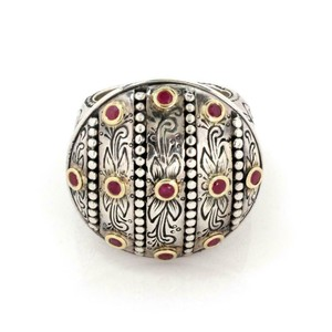 Konstantino Ruby 925 Sterling 18k Yellow Gold Round Floral Ring