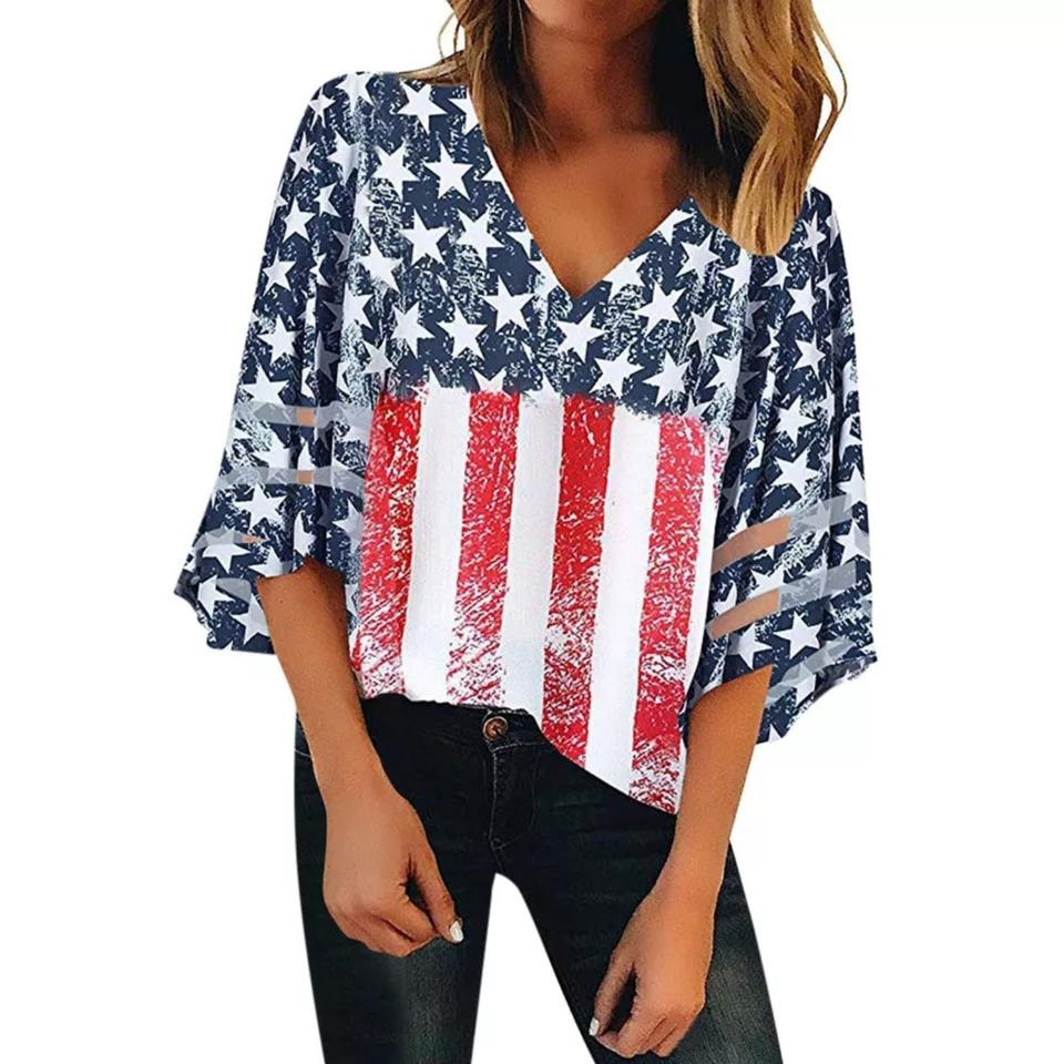 ab7f4780a20 Ishowtienda Us Flag Size 10 Us Flag American Flag July 4th Top Red/White/  ...