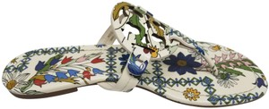 Tory Burch White Floral Sandals