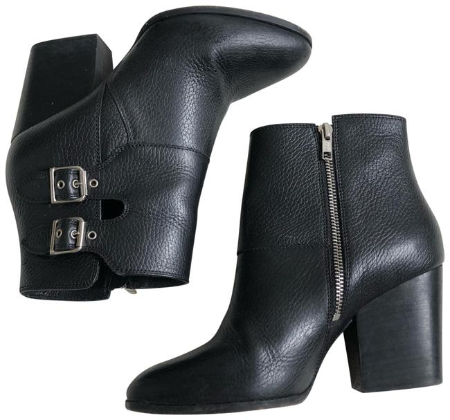 Item - Black Textured Leather Buckle Accent Boots/Booties Size EU 40 (Approx. US 10) Regular (M, B)
