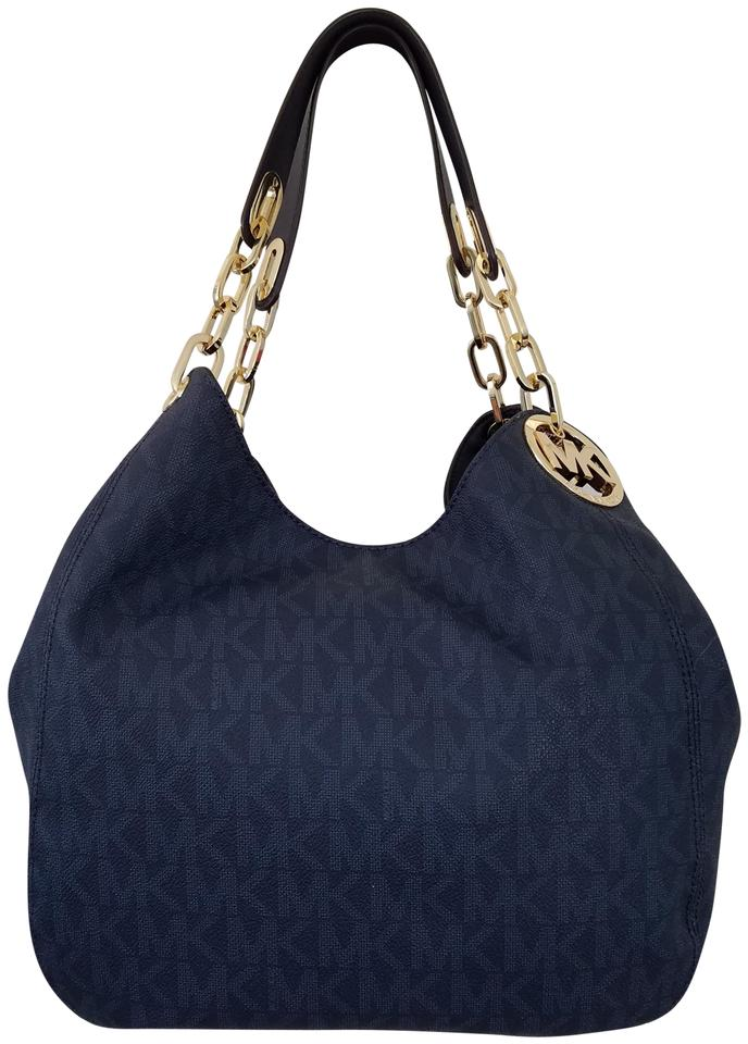 MICHAEL Michael Kors Fulton Large Logo Navy Coated CanvasLeather Shoulder Bag