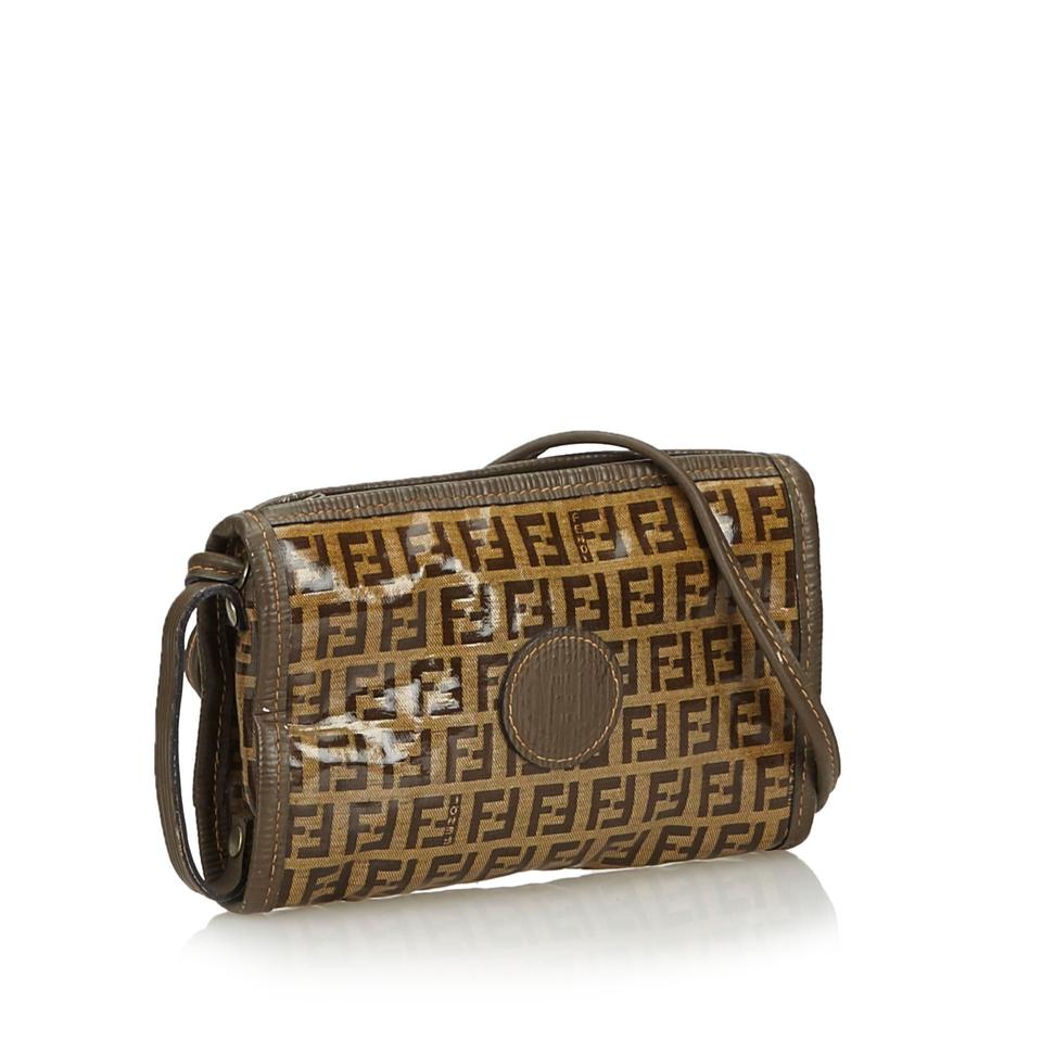 c2f80f23ba Fendi Fabric Zucchino Italy Small Brown Coated Canvas Leather Cross Body  Bag - Tradesy