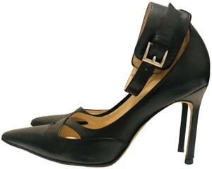 990e30a198a6f Manolo Blahnik Two Tone Leather Bellanto Cut Out Peep Boots/Booties ...